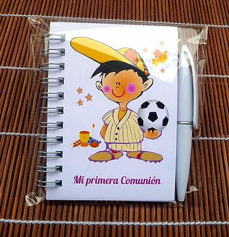 Detalles y Regalos de Comunión Para Invitados Originales - Libretas Niño Balón con mini bolígrafo para