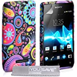 YouSave Accessories Coque Sony Xperia E Etui Couleur Multi Silicone Gel Méduse Housse