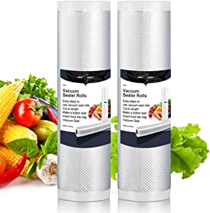 """White Dolphin 2-Pack 8""""x16' feet Vacuum Sealer Bags Rolls Storage Sous Vide Bags Fit for Food Preservation with Double-Side Channel"""