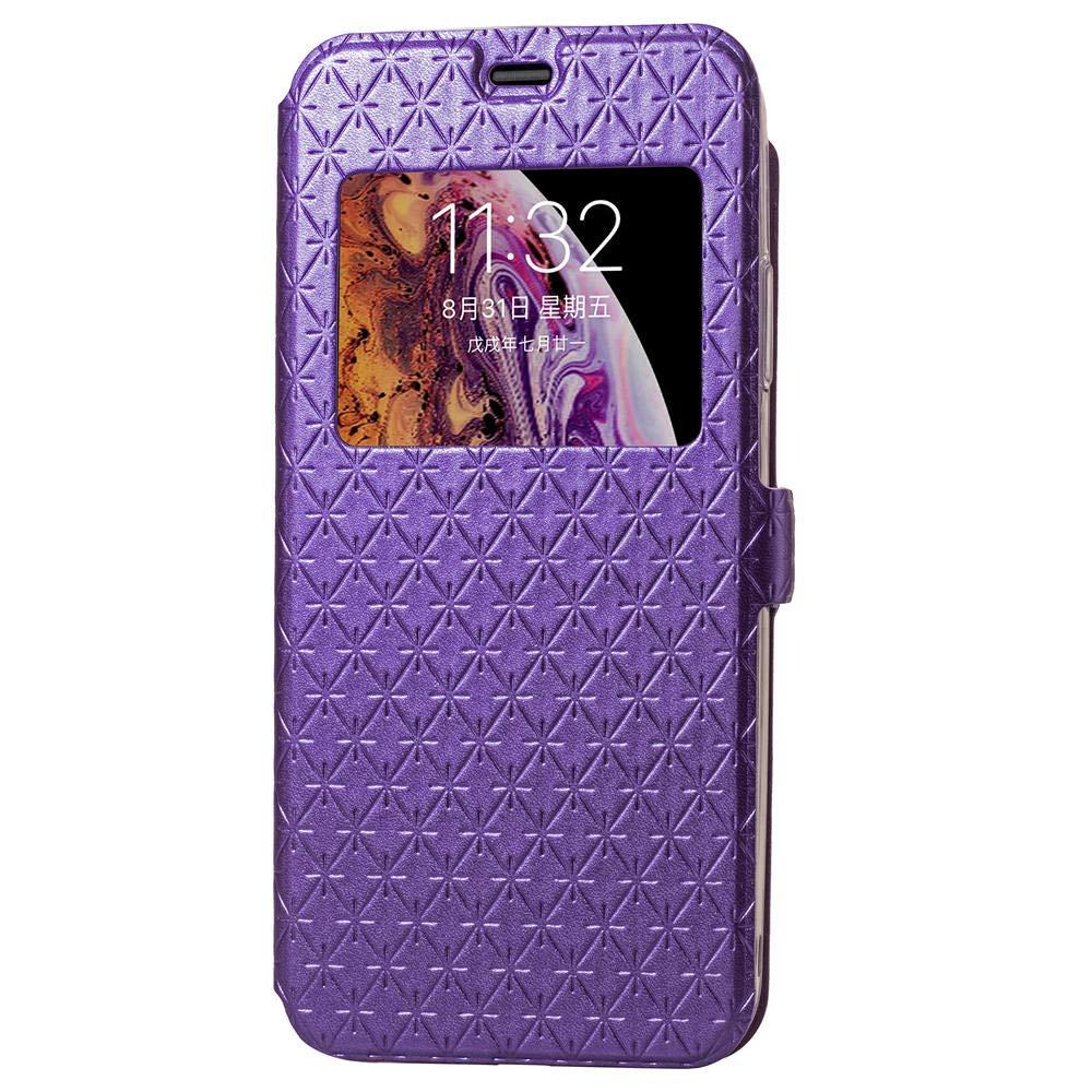 Apple iPhone XR Case Grid Pattern Flip PU Leather