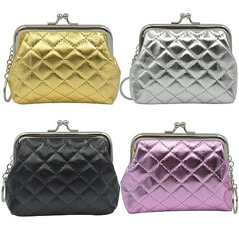 mciskin 4 piezas Monedero de brillante con cierre de bolsa de cambio de Kisslock Monedero pequeño de monedas para mujeres niñas 4.7