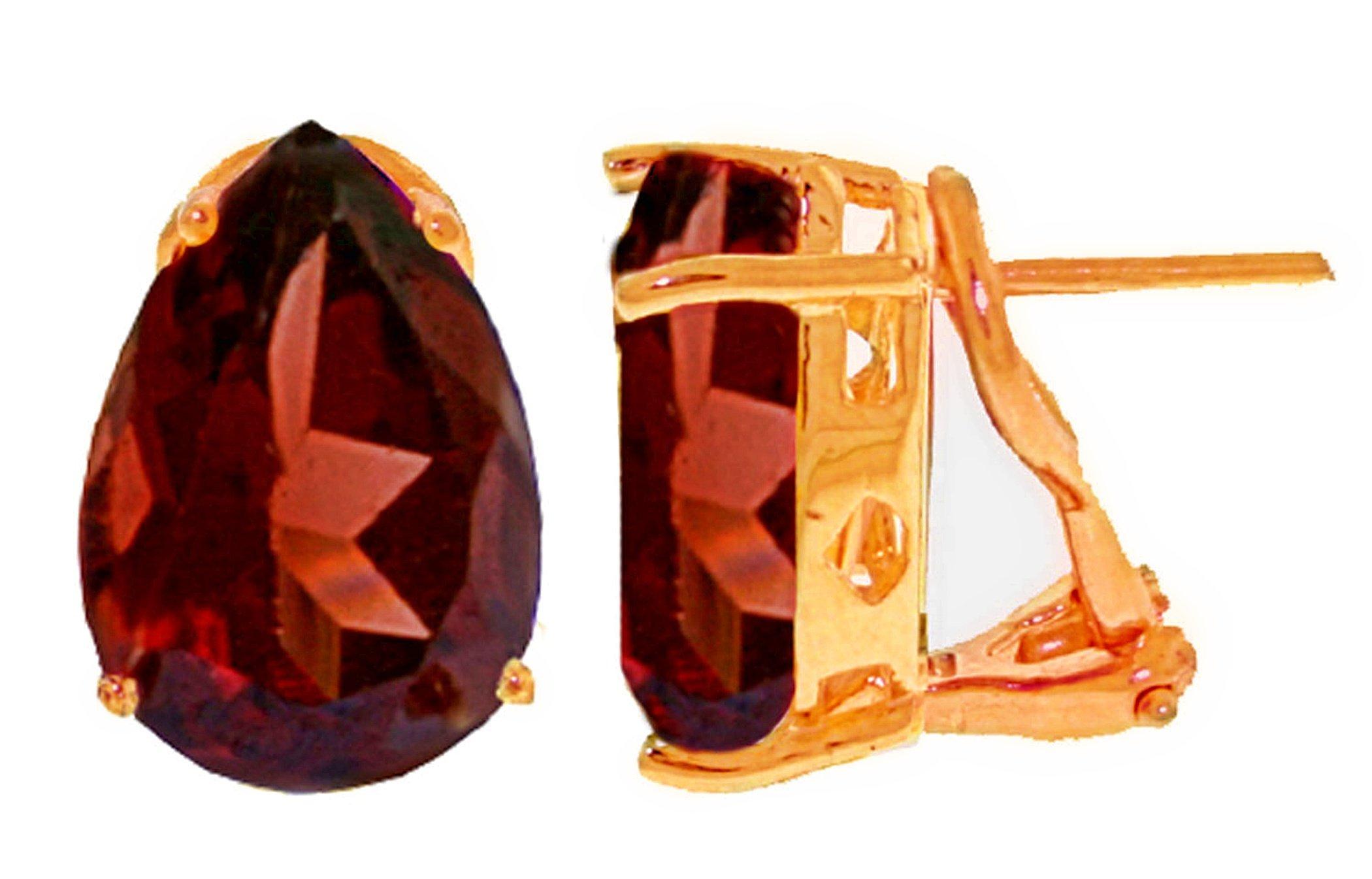 14k Rose Gold 10 carat (CTW) Garnet Omega Clip Earrings