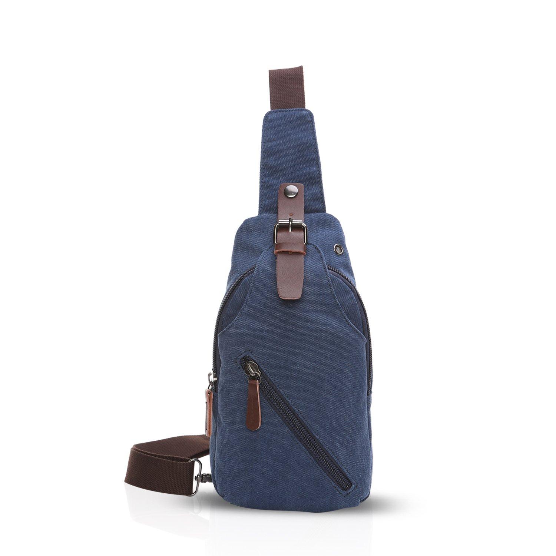 FANDARE Sling Bag with Earphones Hole Fiesta Excursión Comercio Viaje Estudiantes Multifuncional Hombres/Mujeres Transpirable Lienzo Azul: Amazon.es: ...