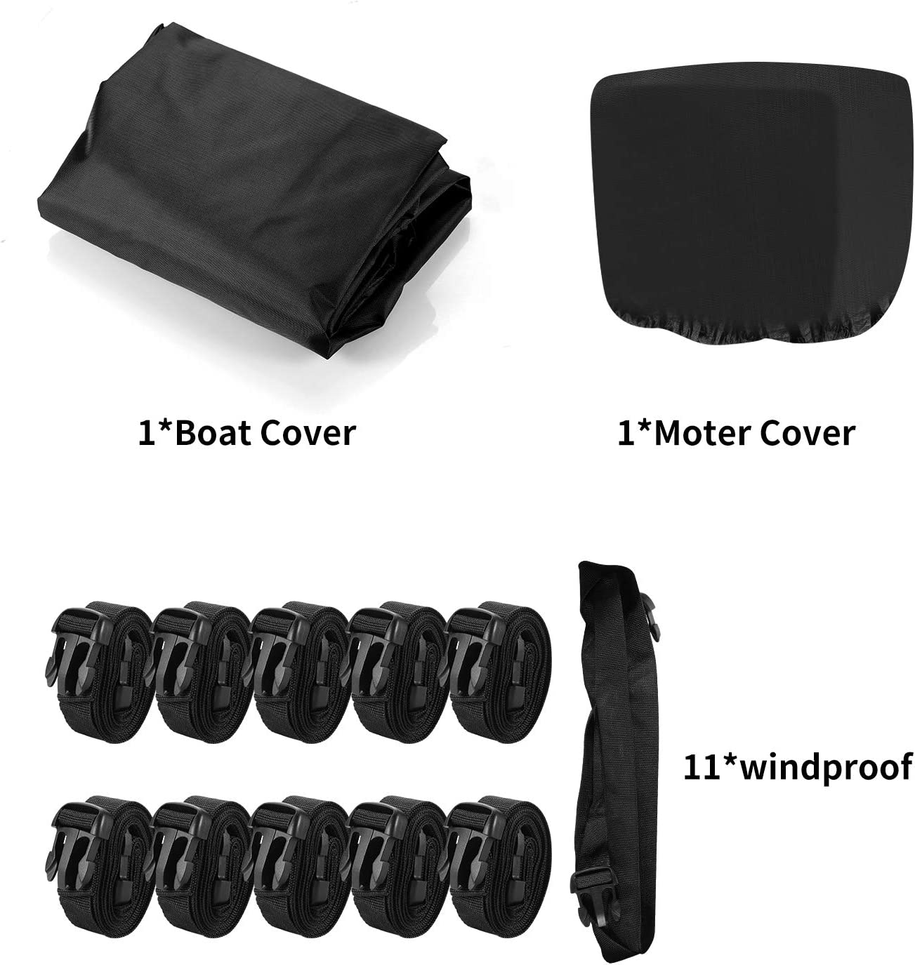 iYoYo Waterproof 420D Trailerable Polyester Canvas Full Size Boat Cover Black for 17-19L Runabout Boat,V-Hull,Free Motor Cover