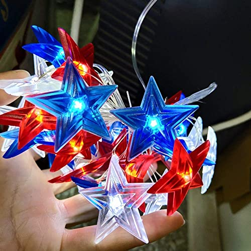JASHIKA 4th of July Memorial Day American Flag Stars Decoration String Lights 10feet 30 LEDs USB or Battery Operated with Multi-Function Remote for USA Independence Day Uncle Sam Party Accessories