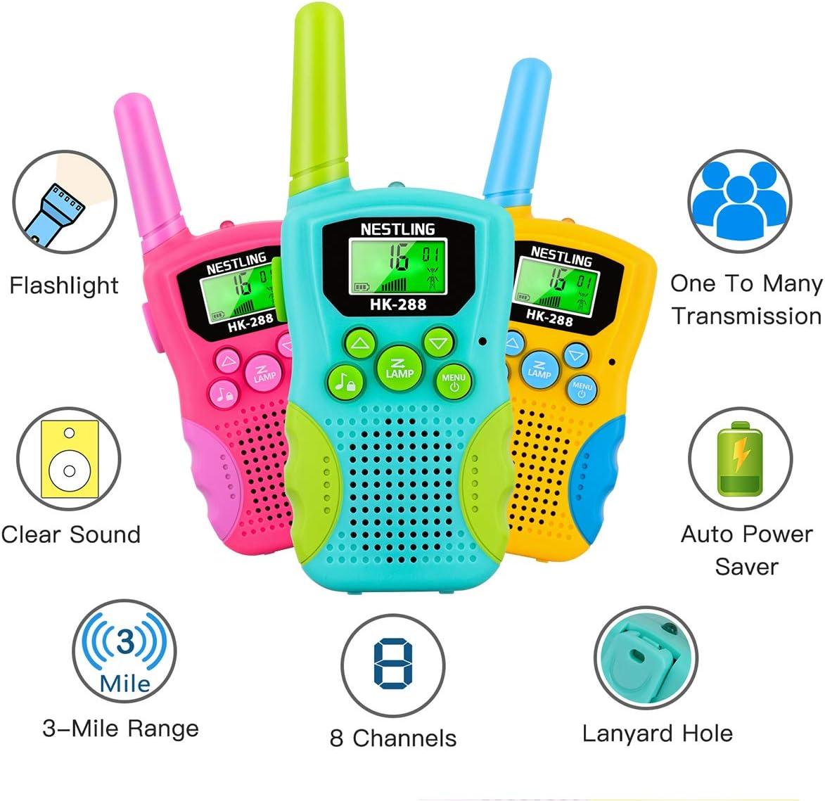 Nestling Walkie Talkie Kinder Spielzeug,8 Kan/äle 3 Meilen Reichweite Funkger/ät mit Hintergrundbeleuchteter LCD-Taschenlampe und 3 Schl/üsselb/änder f/ür Abenteuer im Freien Wandern Camping