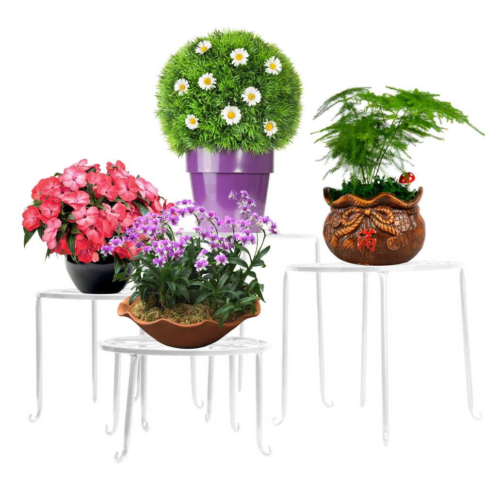 Garden AISHN Metal Plant Stand 4 in 1 Potted Irons Planter Supports Floor Flower Pot Round Rack Display with Scroll Pattern Perfect for Home Patio
