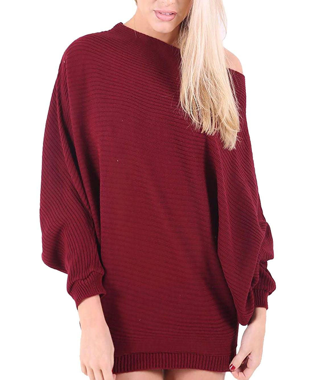 Rimi Hanger Womens Long Sleeve Off Shoulder Knitted Batwing Top (S-M-L)