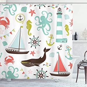 """Ambesonne Nautical Shower Curtain, Pastel Colored Composition of Lighthouse Sailboat Fish Shells Octopus and Anchor, Cloth Fabric Bathroom Decor Set with Hooks, 84"""" Long Extra, Coral Turquoise"""