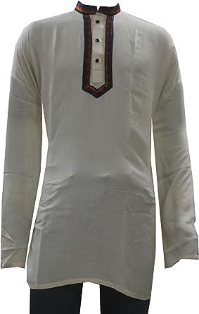 Lakkar Havali Indian Alphabetic Print Men/'s Kurta Shirt Black /& White Color 100/% Cotton Plus Size Loose Fit
