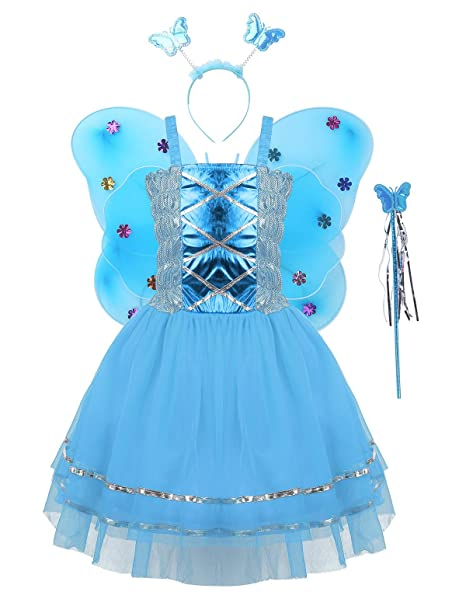 YiZYiF Disfraz Princesa Mariposa Niñas Vestido Tutú Danza Traje ...