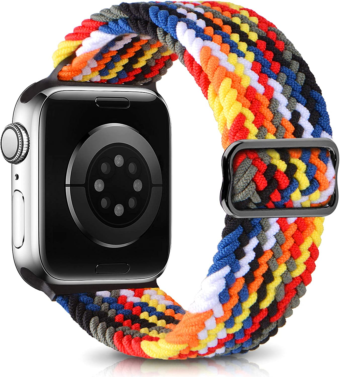 Adjustable Braided Sport Elastics Bands Compatible with Apple Watch Bands 42mm 44mm Women Men, Streatch Solo Loop Strap Compatible for iWatch Series 6 5 4 3 2 1 SE(Color2,42MM/44MM)