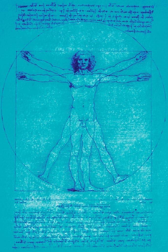 Leonardo Da Vinci Vitruvian Man Drawing Sketch Renaissance Blue Art Cool Wall Decor Art Print Poster 24x36