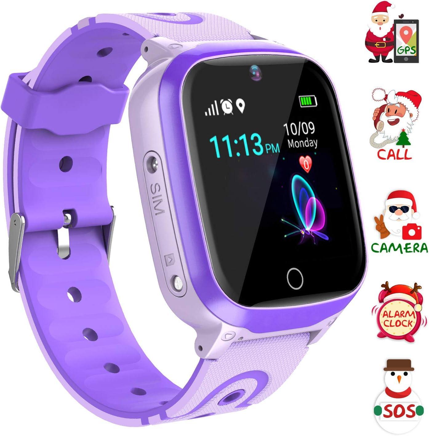 Relojes para Niños GPS - WiFi + GPS Tracker Smart Watch IP67 Relojes Inteligentes a Prueba de Agua con Llamada Cámara SOS Chat de Voz Juegos de cumpleaños de Vacaciones para niños