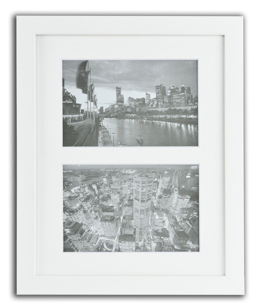 Golden State Art, 8x10 White Photo Wood Collage Frame with Real Glass and White Mat displays (2) 4x6 Pictures by Golden State Art