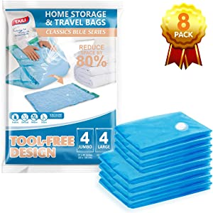 TAILI Vacuum Storage Space Saver Bags Jumbo Vacuum Sealer Bags for Clothes Bedding Comforter Duvets Quilts Pillows-No Pump No Cap 80% Space Saving Design-8 Combo Pack