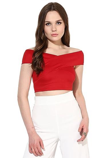 9615ff483ce33 VeniVidiVici Women s Plain Slim Fit Shirt (VVV45406 Cherry Red X-Small)