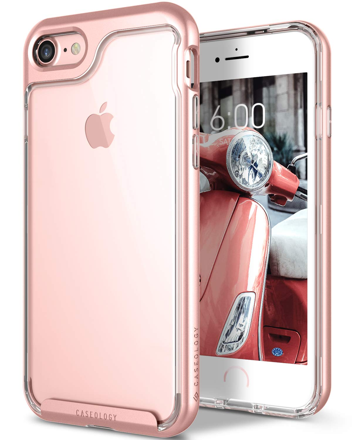 official photos 0cc7b a1515 Caseology Skyfall for Apple iPhone 8 Case (2017) / for iPhone 7 Case (2016)  - Clear Back & Slim Fit - Rose Gold