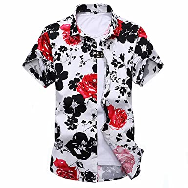 2c49a9f790f1 Image Unavailable. Image not available for. Colour  gouhai Men s 100%  Cotton Floral Printed Shirt Short Sleeve Casual Regular Fit Dress Shirts for