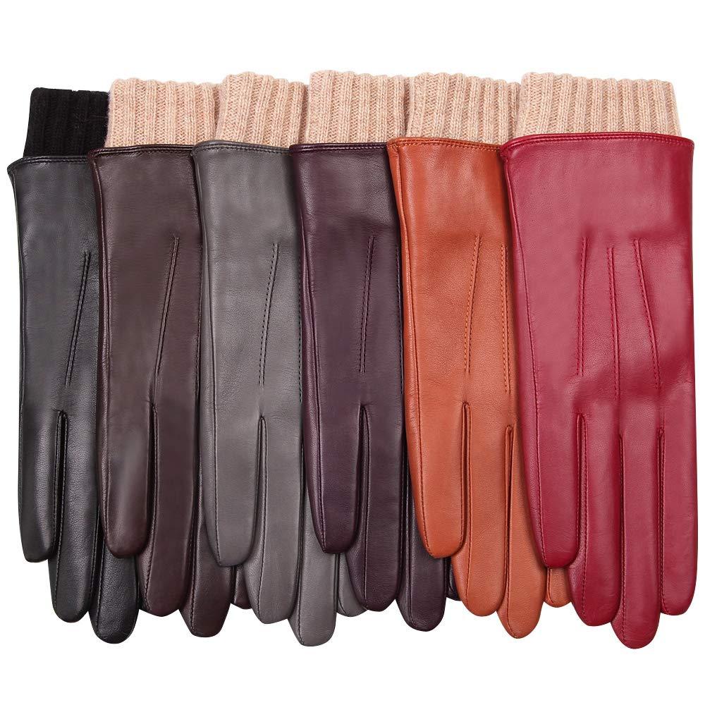 WARMEN Women's Winter Warm Hairsheep Leather Gloves Touchscreen Texting Cashmere/wool Blend Lining