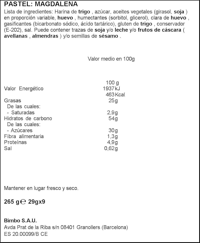 Bimbo - Sonrisas - Magdalenas Reinas (9 unidades) - 265 g ...