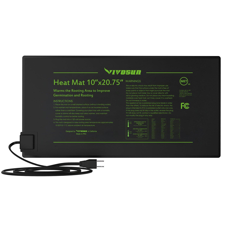 VIVOSUN Durable Waterproof Seedling Heat Mat Warm Hydroponic Heating Pad 10'' x 20.75'' MET Standard