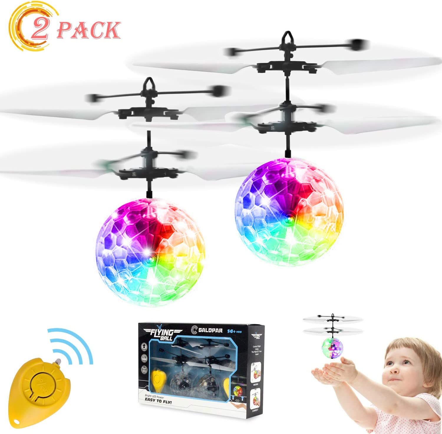 Electric RC Flying Ball Infrared Induction Aircraft LED Flash Light Kids Toy 1E