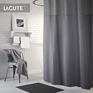Lagute SnapHook (Hookless) Shower Curtain w/Snap-in Liner | Bathroom Curtain with Removable PEVA Liner [71''x74''] | Waterproof and Anti-Mold Polyester Bathtub Curtain