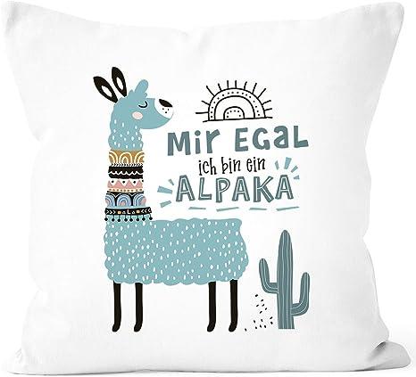 Kissen-Bezug mit Spruch und Motiv Mir egal ich bin ein Alpaka Kissen-Hülle