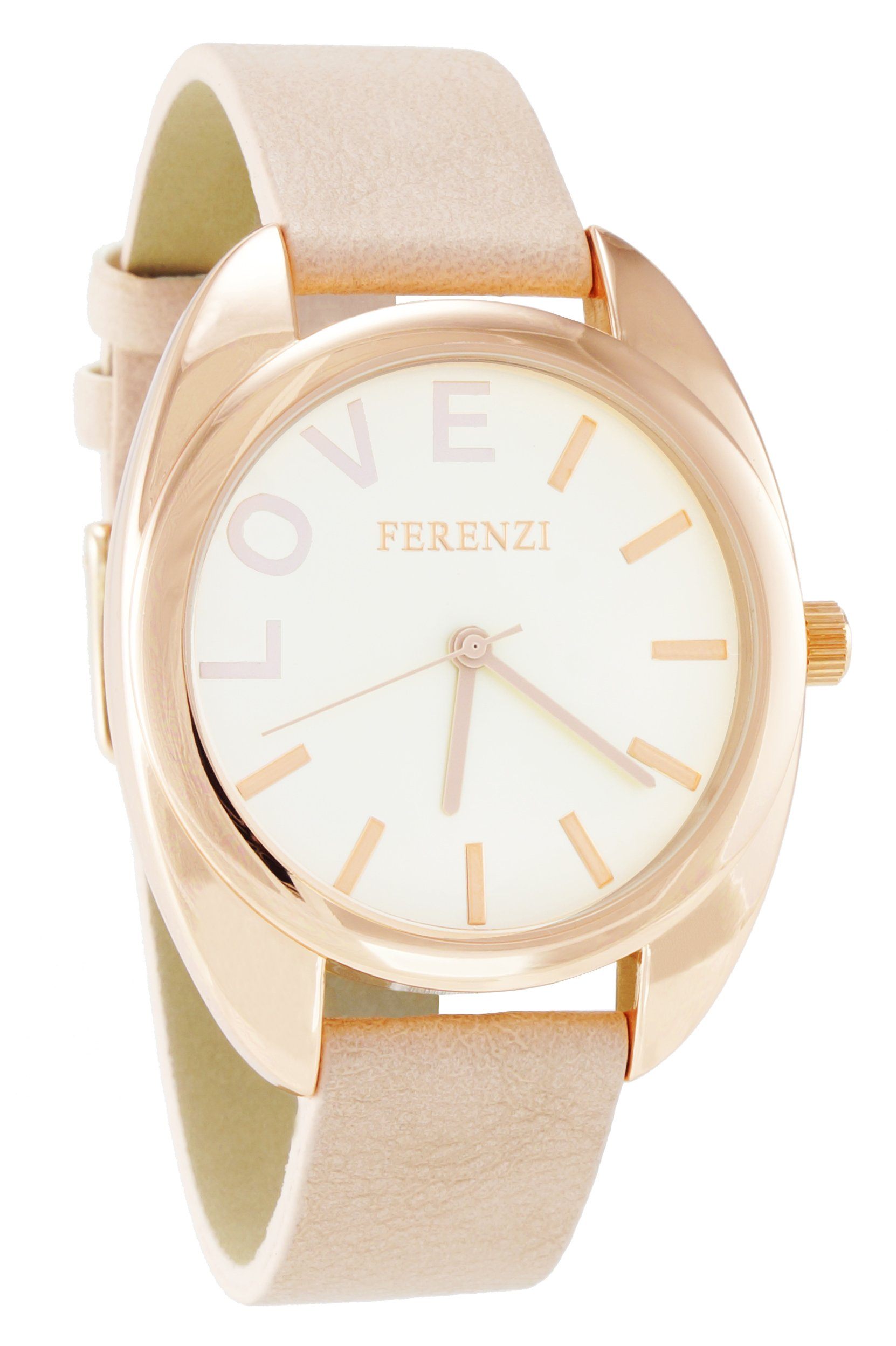 Ferenzi Women's | Classy Rose Gold Tone Case LOVE Watch with Peach Band | FZ15403