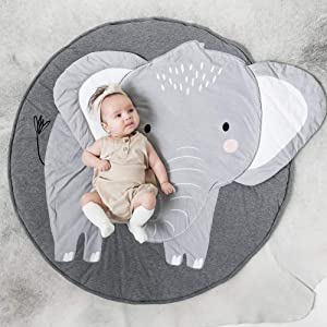 litymitzromq Ultra Soft Indoor Modern Area Rugs, Cartoon Elephant Pattern Baby Play Mat Pad Crawling Blanket Carpet Rug Decor for Children Bedroom Home Decor Nursery Rugs(Elephant)