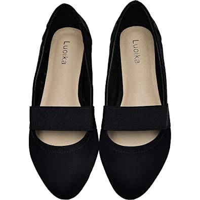 ae3e2e18ae72f Luoika Women's Wide Width Flat Shoes - Elastic Band Comfortable Pointed Toe  Ballet Flats.