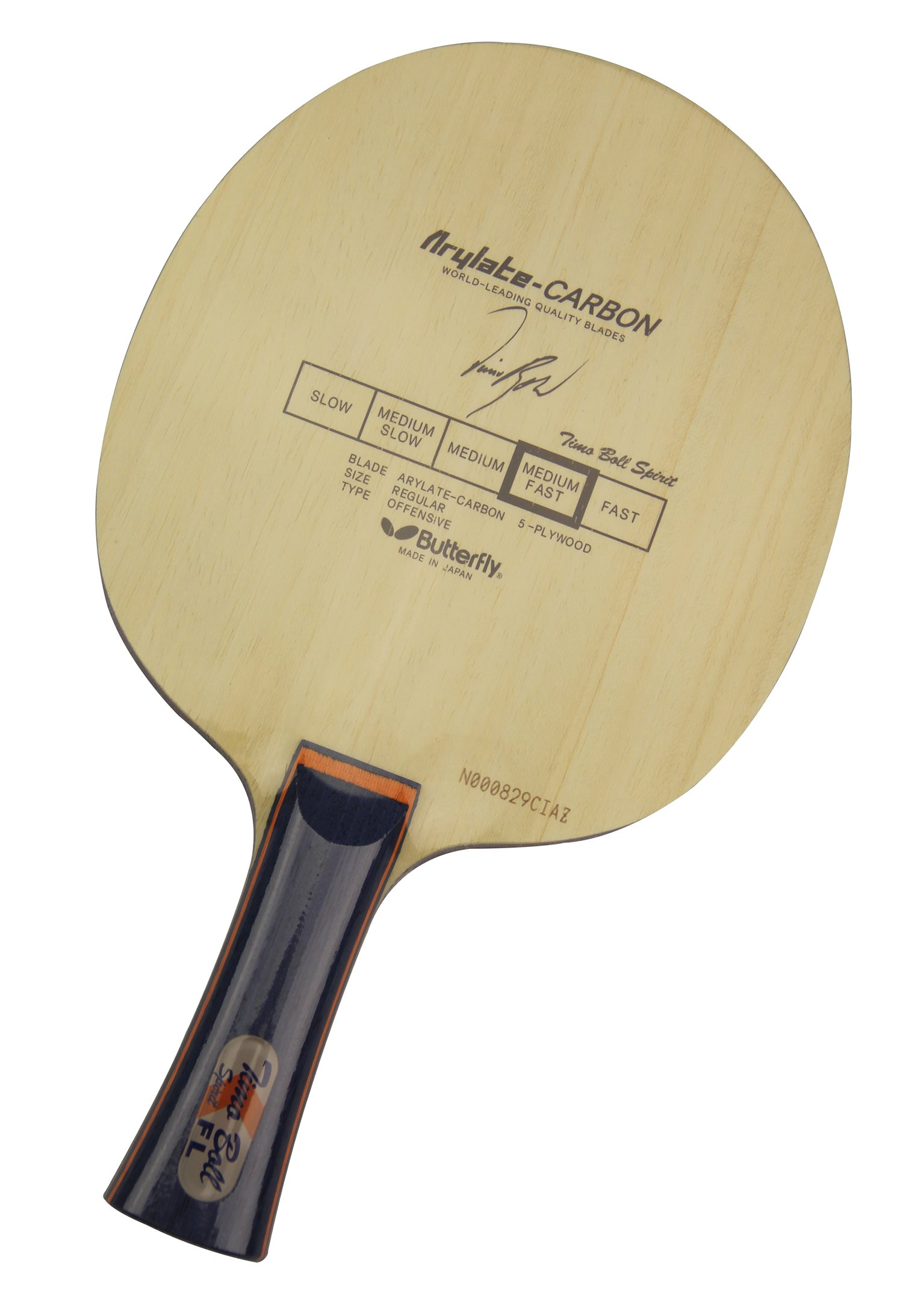 Butterfly Timo Boll Spirit-FL Blade with Flared Handle by Butterfly