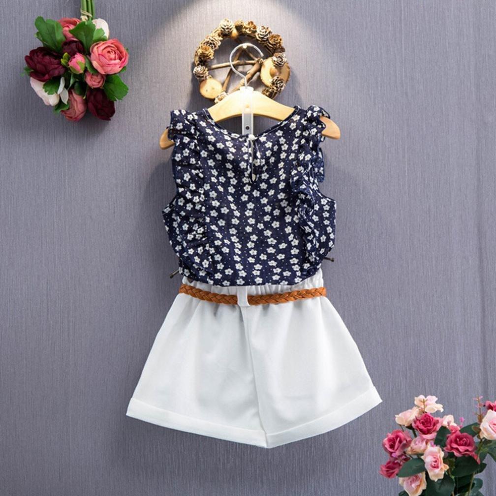 Jarsh 3PCS Toddler Kids Baby Girls Floral T-Shirt Tops+Shorts Pants Set Summer Outfit Clothes