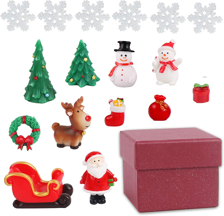 Christmas Miniature Ornaments 18 Pcs Fairy Garden Christmas Accessories, DIY Snow Globe Figurines, Miniature Christmas Decorations for Christmas Party Box