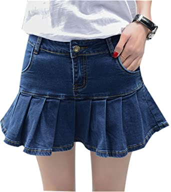 d8a81c763c Yeokou Women's Casual Slim A-line Pleated Ruffle Short Mini Denim Skirts (X-