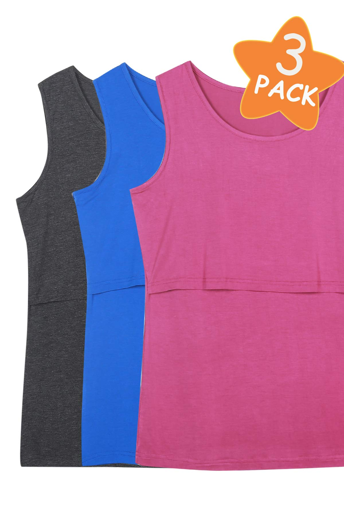 Smallshow Women's 3 Pack Sleeveless Nursing Tank Tops Large,Deep Grey-Fuchsia Rose-Deep Blue