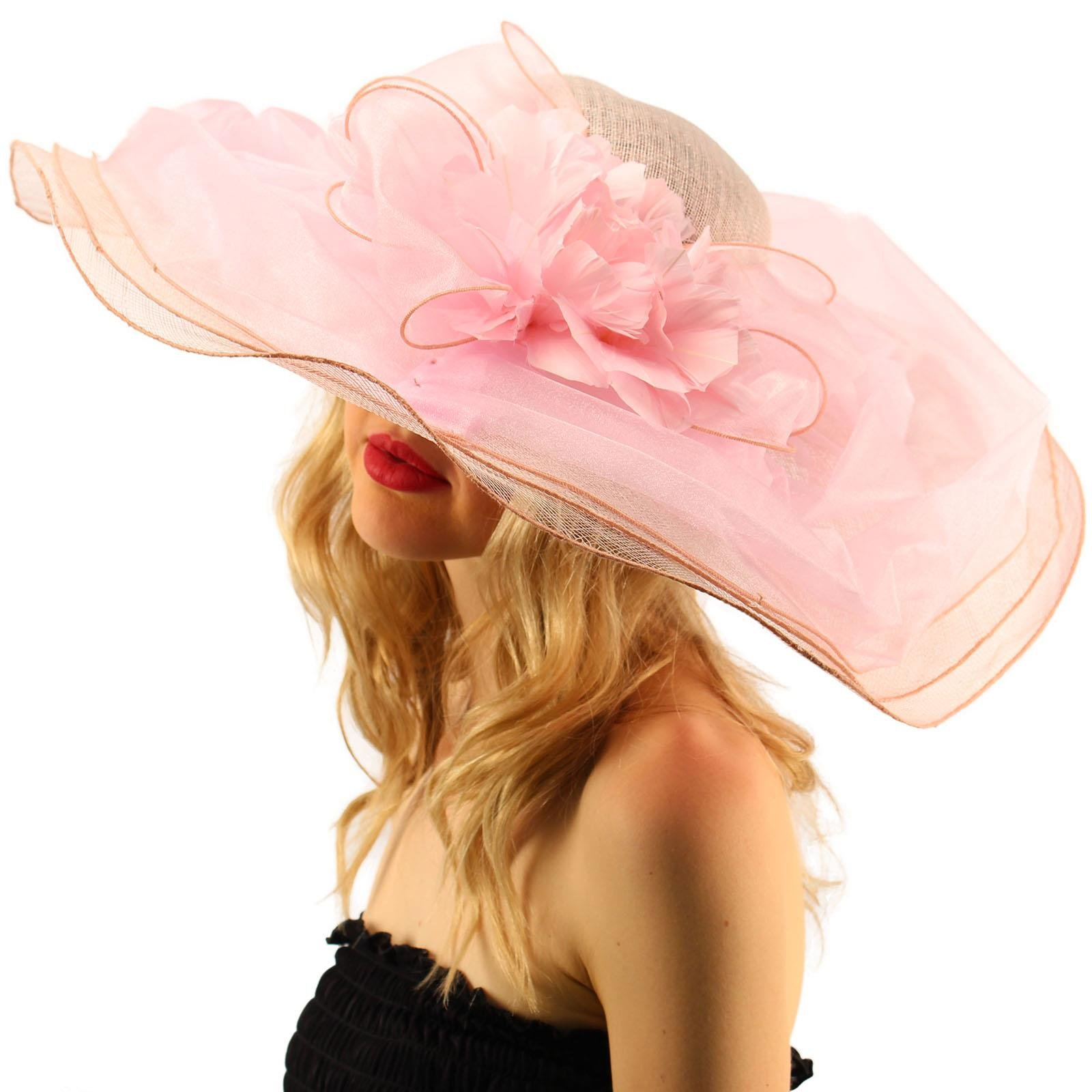Victorian Layered Sinamay Floral Feathers Derby Floppy Wide 7''+ Dress Hat Pink