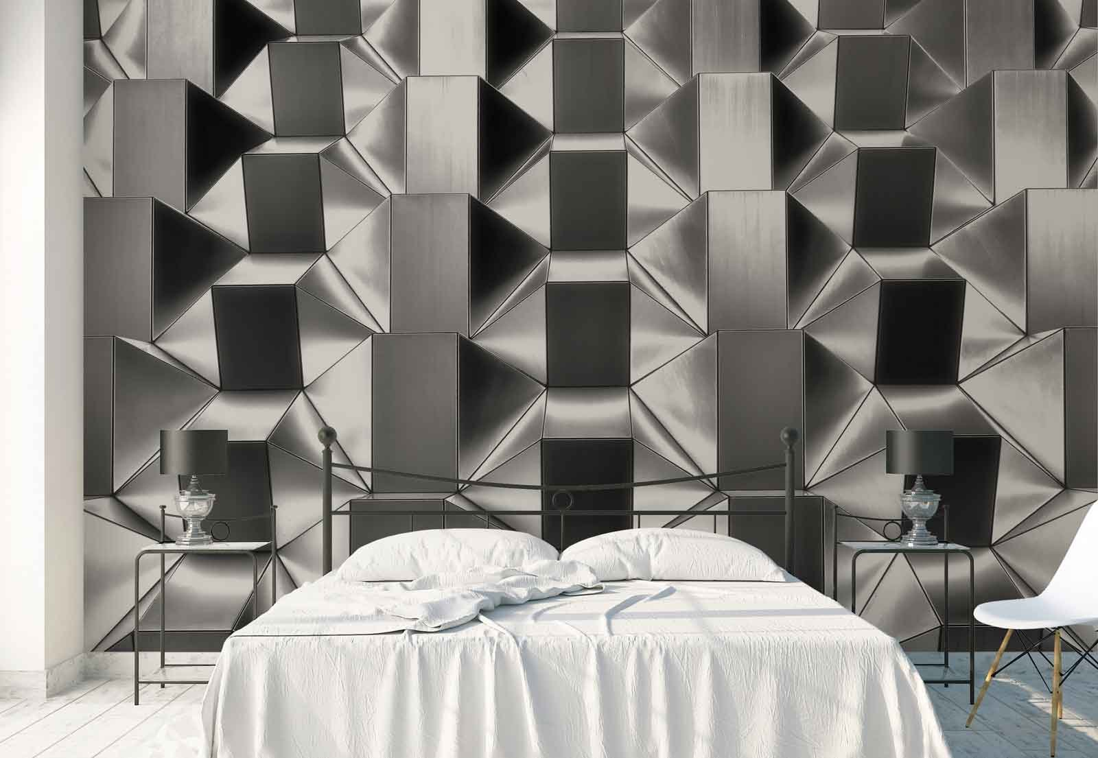 Photo wallpaper wall mural - Steel Tiles Geometrical Shapes Rows - Theme Architecture - XL - 12ft x 8ft 4in (WxH) - 4 Pieces - Printed on 130gsm Non-Woven Paper - 1X-1330067V8