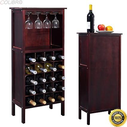 COLIBROX   New Wood Wine Cabinet Bottle Holder Storage Kitchen Home Bar W/  Glass