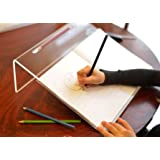 Clear Acrylic Ergonomic Writing Slope, Extra Wide For Better Writing Posture, 20 Degree Angle, Anti Slip with Pen Holder - Educational & SEN Resource - by Playlearn