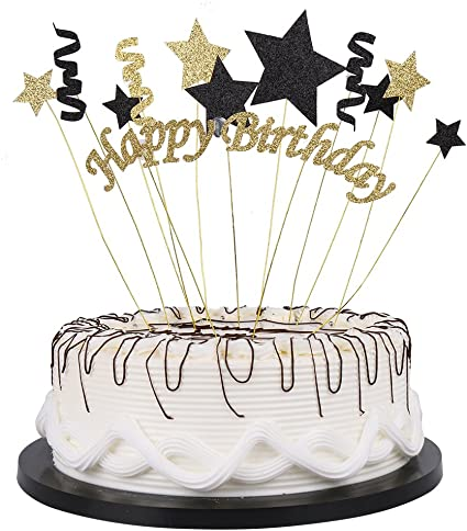 Incredible Amazon Com Yuinyo Handmade Black And Glod Glitter Pentacle Personalised Birthday Cards Paralily Jamesorg