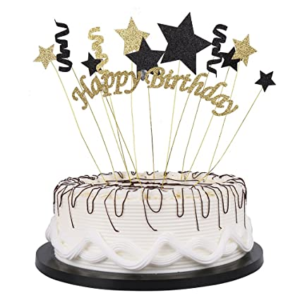 YUINYO Handmade Black And Glod Glitter Pentacle Cake Toppers Happy Birthday Bunting Topper Paper