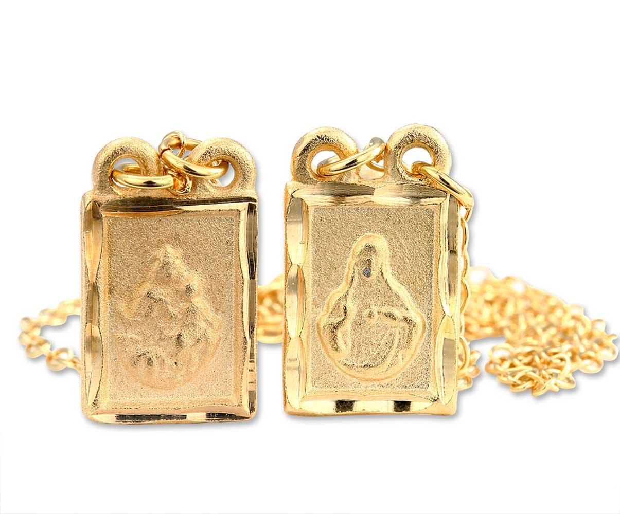 Catholica Shop Gold Plated Engraved Medals Square Scapular Necklace | Made in Brazil | 13 inch