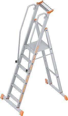 Layher 1074006 1074 Plataforma Escalera Topic 6, aluminio, 6 peldaños: Amazon.es: Bricolaje y herramientas