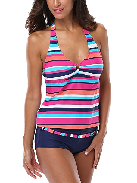 481487ef5dadc Zando Women s Two Pieces Beachwear Stylish Floral Printed Tankini Racerback  Swimsuits Athletic Swimwear Bathsuit C Pink