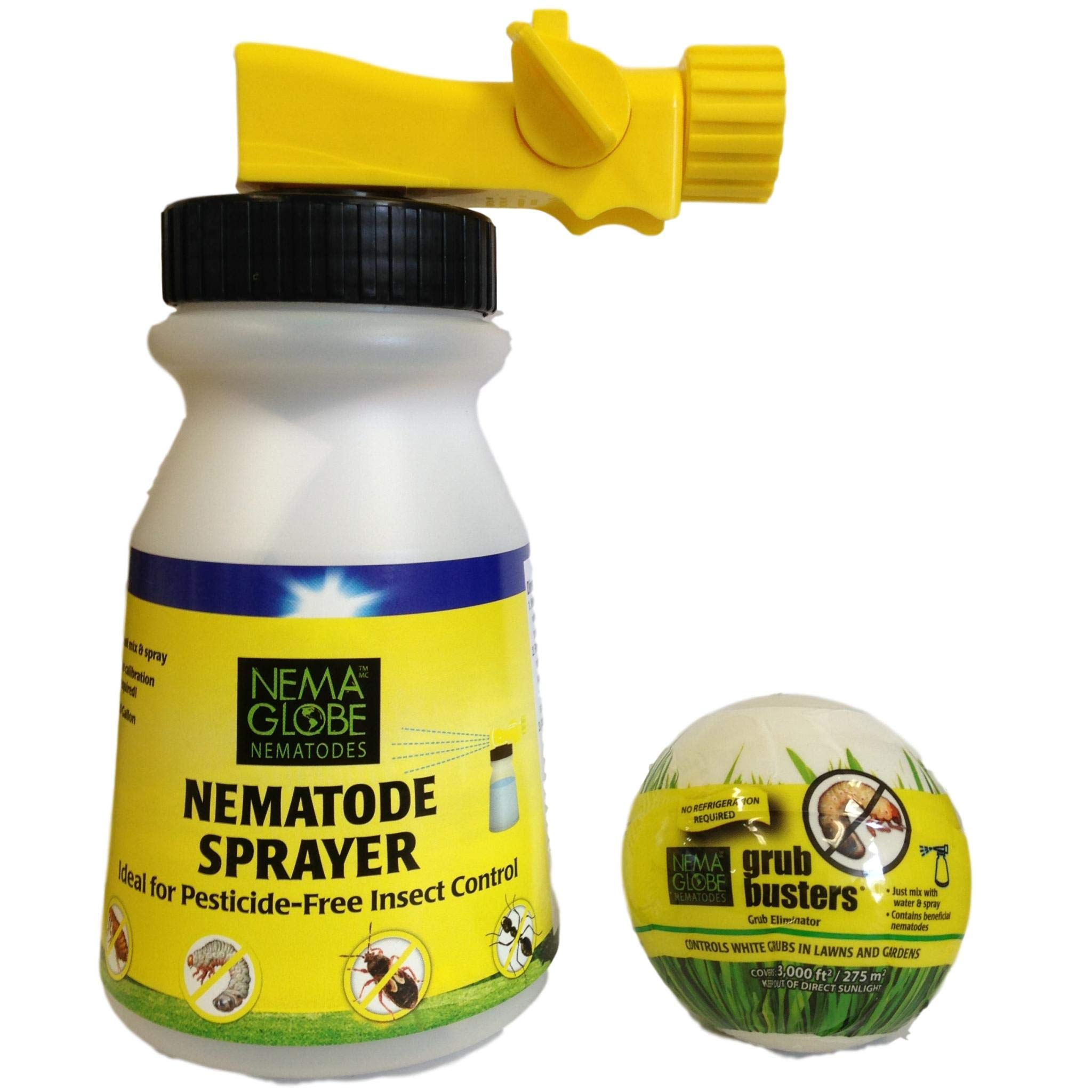 40 Million Beneficial Nematodes(H.bacteriophora) - Nema Globe Grub Buster - Sprayer Combo - New ''No Refrigeration Required'' Formula by Nemaglobe
