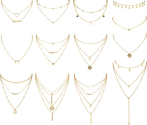 Lots Styles Multilayer Long Chain Gold Silver Choker Pendant Necklace Jewelry