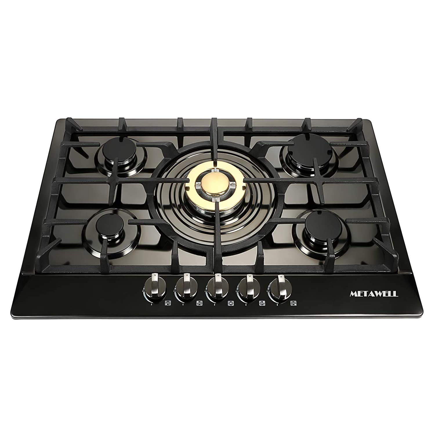 METAWELL 30 Black Titanium Plated Stainless Steel 5 Burner Built-in Stoves NG Gas Hob Cooktops Cooker