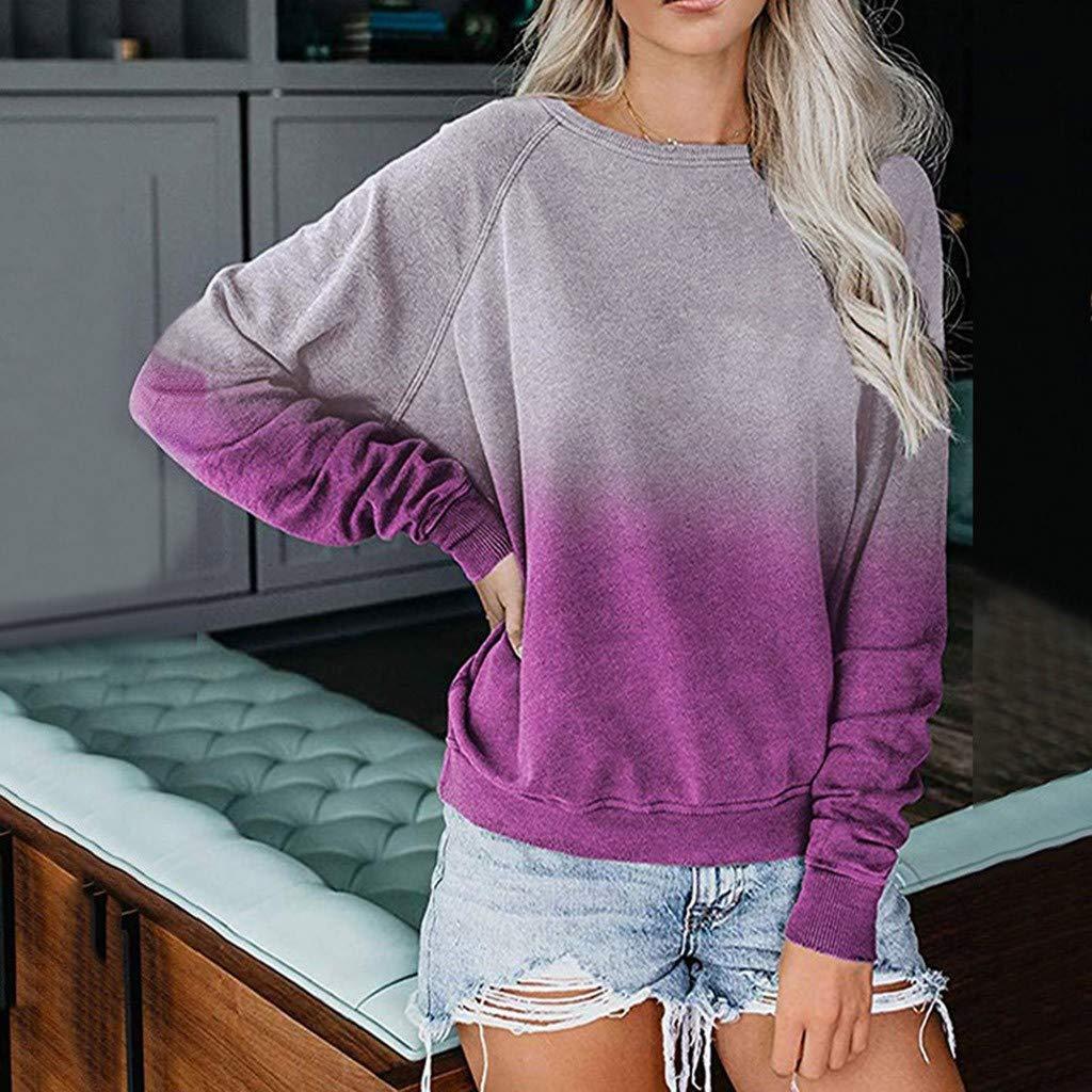 Miuye yuren Womens Knits /& Tees Autumn Winter New Pullover Rainbow Gradual Printed Long Sleeve Sweatshirt Tops